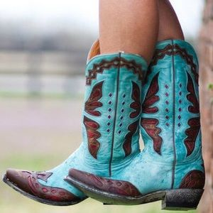 Old Gringo Monarca Aqual Teal Brass Boots